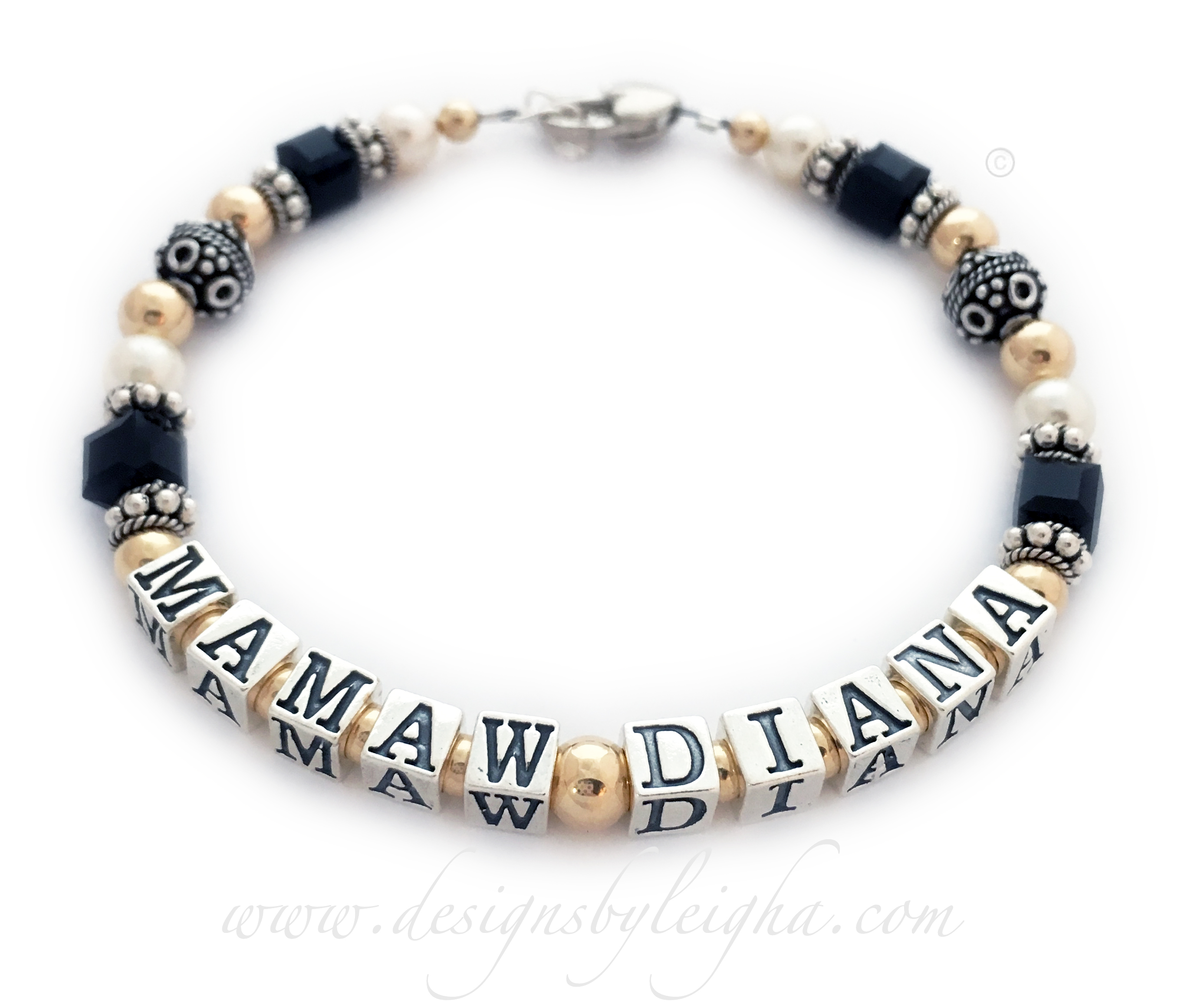 DBL-Gma13-1 string bracelet   Enter: MAMAW DIANA / Black  This Grammy Bracelet is shown with DIANA and Mamaw. You choose the name(s). They also picked black Swarovski crystals and upgraded to the Heart Lobster Clasp with an extension clasp.