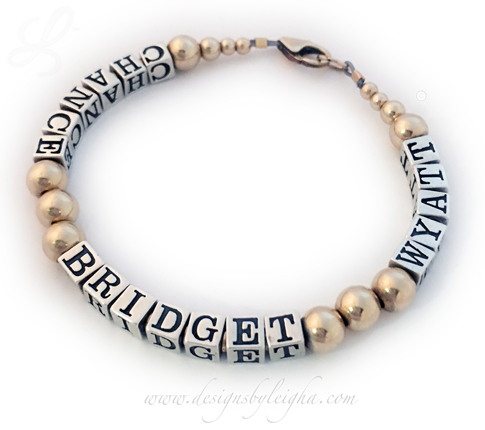 Chance, Bridget and Wyatt Bracelet for Mommy  - 3 names - DBL-Gold-13
