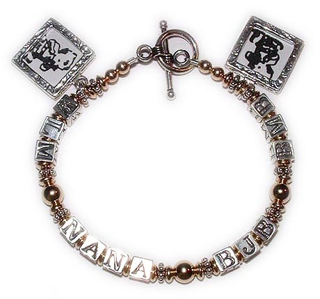DBL-MB5-1string bracelet Enter: WLM - NANA - BJB - RMB NANA has 3 grandkids so we put all 3 grandkids initials and they added 2 Square Textured Picture Frames charms. They pick the one of my beautiful free Smooth Toggle clasps. I would be happy to insert the pictures for you (but it is easy to do yourself). Just email me the pictures after you place your order and follow up to be sure I received them. Thanks! Leigha