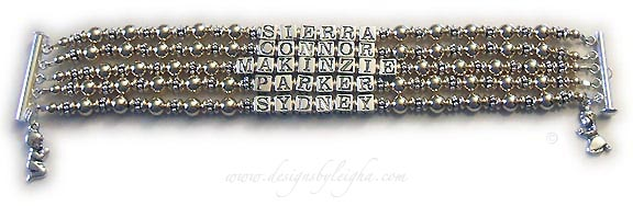 DBL-G5-5string bracelet Enter: SIERRA CONNOR MAKINZIE PARKER SYDNEY They added a Praying Boy charm and a Praying Girl charm. I recommend a slide clasp for bracelets with 3 or more strings but you may choose any clasp.