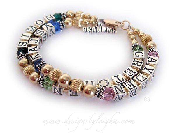 This is a 2 string / 4 name Gold Grandma Bracelet with GRETCHEN (August or Perdiot), SIMON (May or Emearld) - AYDEN (October or Opal) KAJSA (September or Sapphire). They also added 2 things to their order: 14k gold-plated lobster claw clasp and a GRANDMA charm.
