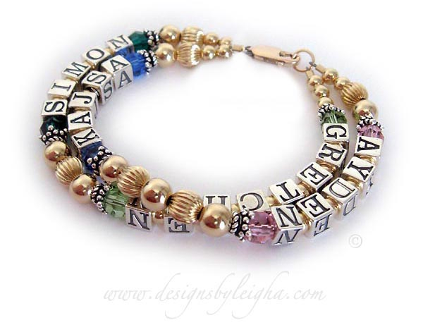 *Shown with extra letters* This is a very flexible design. You may add more than one name per string. This is a 2 string / 4 name Gold Grandma Bracelet with GRETCHEN (August or Peridot), SIMON (May or Emerald) - AYDEN (October or Opal) KAJSA (September or Sapphire). They have 5 extra letters and upgraded to a 14k gold-plated lobster claw clasp.