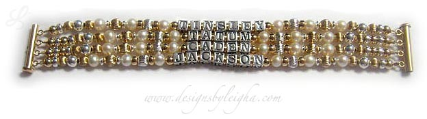 DBL-G9 - 4 string bracelet with 4 kids' names  Enter: TINSLEY, TATUM, CADEN, JACKSON This Pearl, Gold and Bali Mother Bracelet is shown on a gold 4-string slide clasp. I recommend a slide clasp with 3 or more strings but you may choose any style clasp during the ordering process.