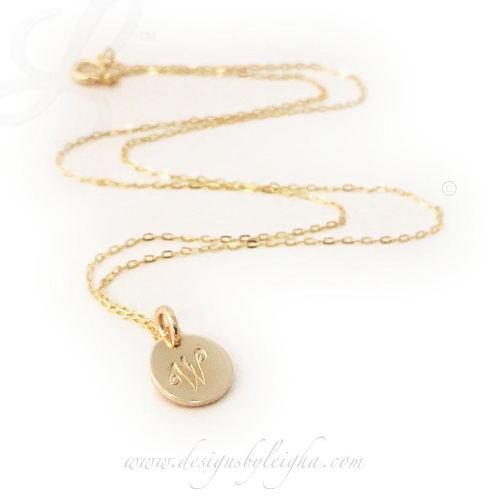 Gold Initial Necklace with a Gold Initial Charm on a Gold Necklace
