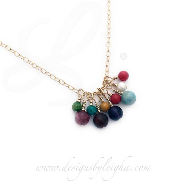 DBL-BN-G14 Gold Birthstone Necklace shown with 10 Birthstone Charms  May, February, December, January, November, September, July, March, June, July