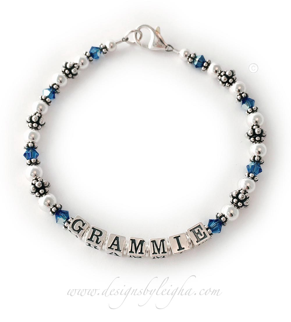 Grammie Birthstone Bracelet with September or Sapphire Birthstones and a Simple Lobster Claw Clasp.