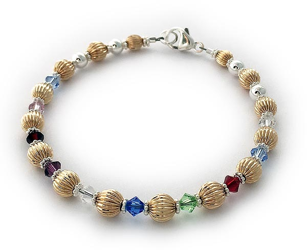 10 Birthstones Gold Bracelet for Grandma or Mom