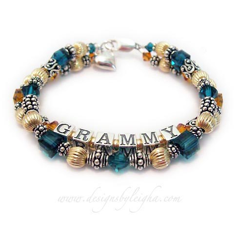 GRAMMY Birthstone Bracelet - Topaz and Emerald Shown