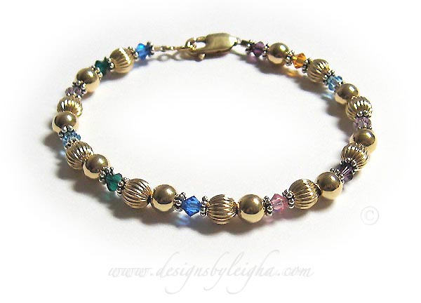 Gold Grandma Birthstone Bracelet 2 Strings Shown Dbl Gma8