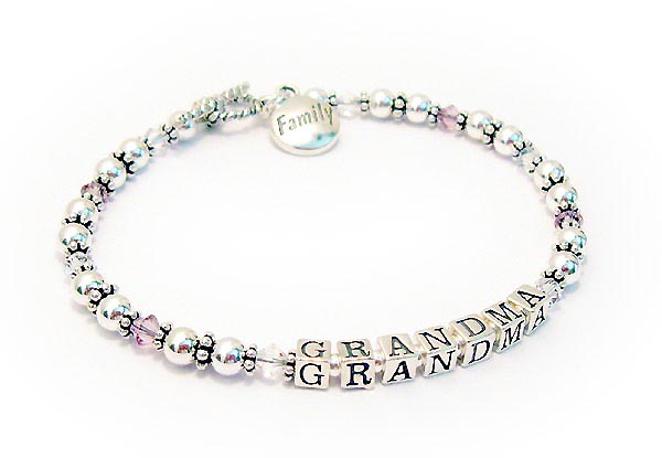 Grandma Bracelet With 10 Crystals And A Family Charm