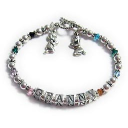 "This bracelet hase Grandma on it but you can put Granny, Granma, Gramma, NANA, NANNY, MAMA or whatever you call your special grandmother.These personalized bracelets for grandmas have Swarovski fully-leaded crystal beads with sterling silver beads, spacers and sterling silver clasp. You can choose any colors for the crystals. A 7"" bracelet can have up to 8 different birthstone colors. An 8"" bracelet can have up to 12 different birthstone colors. You can also add another string if needed, for additional birthstone crystals. Add some charms and make it a grandma charm bracelet."