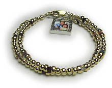 gold 2 string bracelet with picture frame charm