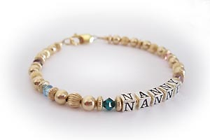 NANNY Birthstone Bracelet with 5 birthstone crystals