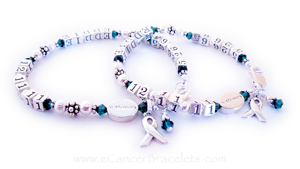 These life time bracelets are shown with emerald (MAY) crystals and they add-on IN MEMORY beads.