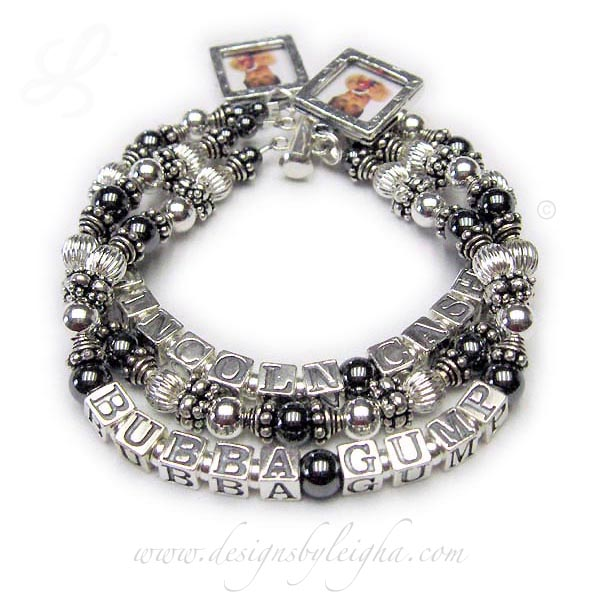 DBL-Hematite 4 - 3 string with 4 names  Enter: LINCOLN CASH, blank, BUBBA GUMP  This Hematite and Bali Mother Bracelet is shown on a 3-string slide clasp and with 3 names: Lincoln Cash, a blank string and then the 3rd string says Bubba Gump. I recommend a slide clasp with 3 or more strings but you may pick which ever clasp is your favorite. They also added 2 Square Textured Picture Frame Charms. If you want me to insert the pictures for you please send them to me right after you place your order and then follow up with a text, email or call to be sure I have them. Thanks! Leigha