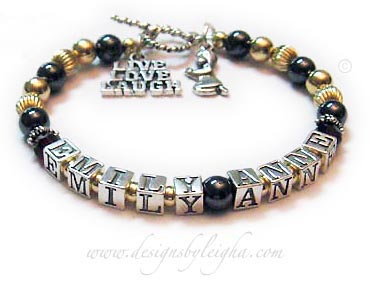 DBL-Hematite 2 GOLD - 1 string with 2 names  Enter: EMILY ANNE  This is a special order Hematite and Sterling Silver Mother Bracelet. They added 14k gold-filled beads. It is shown on a Twisted Toggle clasp. They added a LIVE LAUGH LOVE charm and a Girl Praying charm.