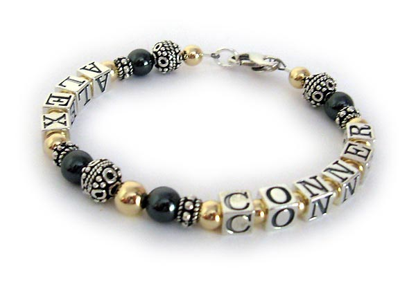 Hematite and GOld Mothers Bracelet with names ALEx and CONNOR