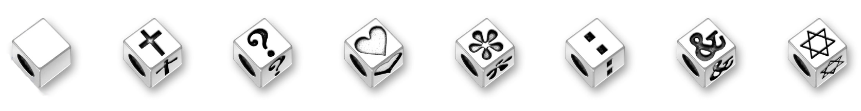 Cubes - Spacers, Cross, Questions Mark, Heart, Flower, Colon, Ampersand, Star of David - Sterling Silver