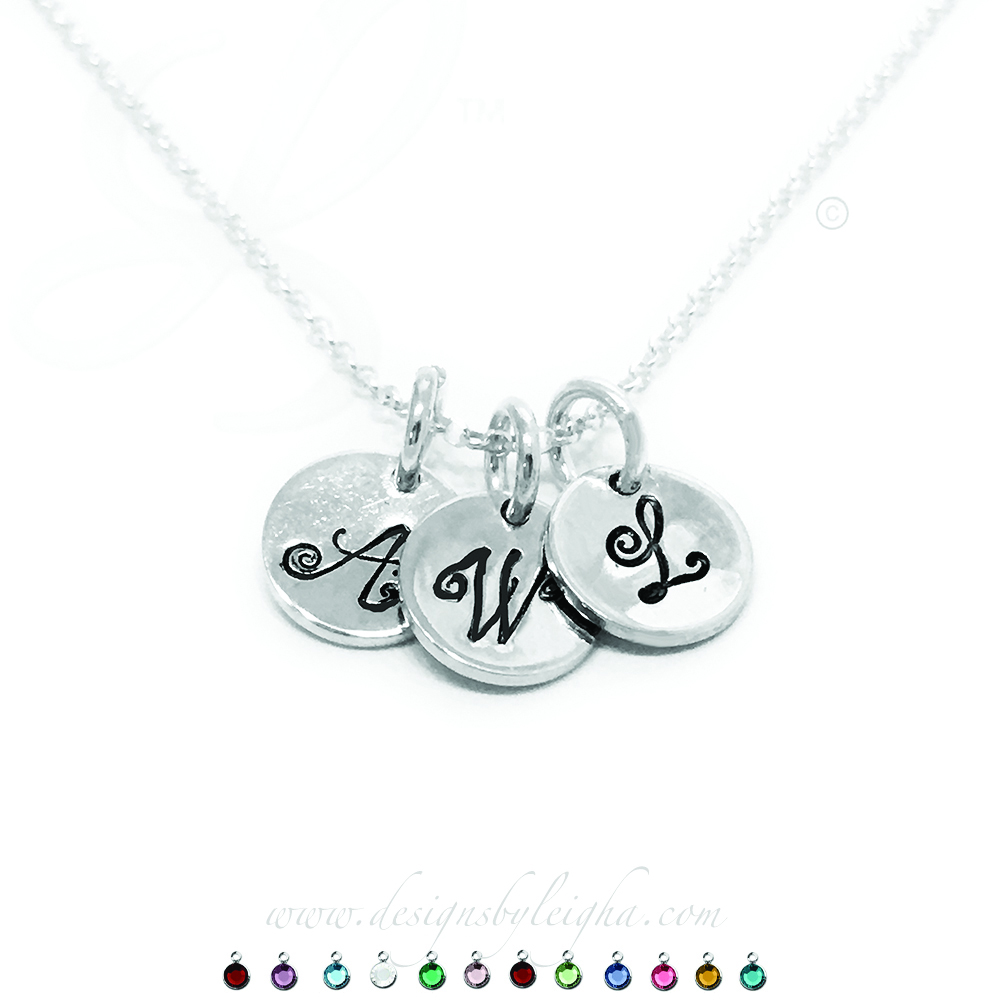 3 Round Initial Charm Necklaces on sterling silver chains - W and A and L