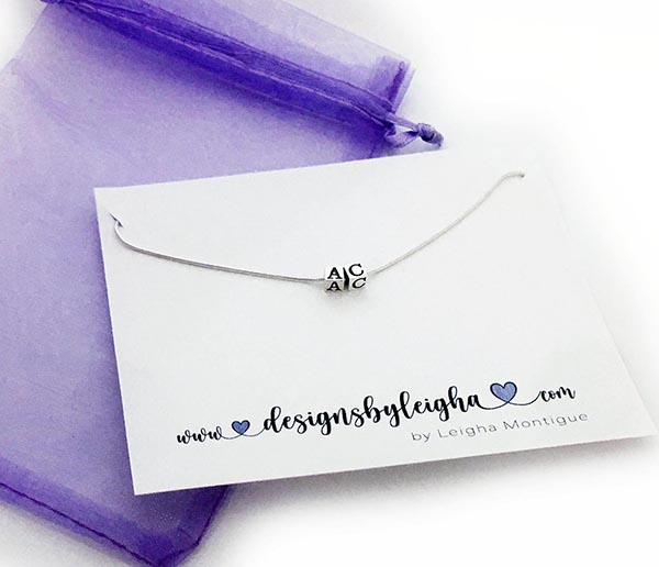 AC Necklace all sterling silver initials necklace with a purple organza bag