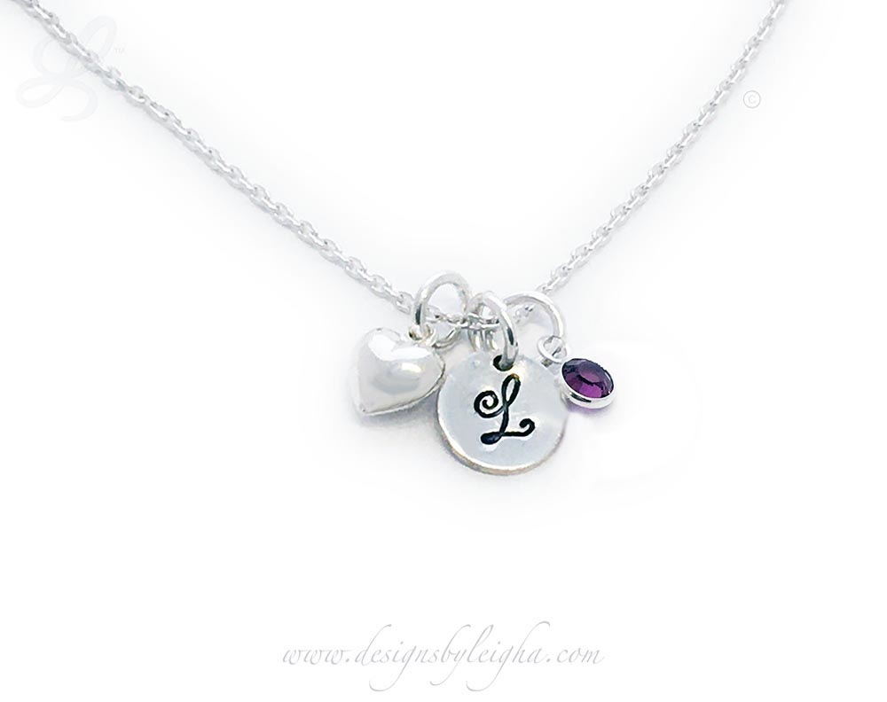 Heart L Initial Birthstone Charm Necklace with a sterling silver round initial charm (9mm) on a sterling silver necklace chain