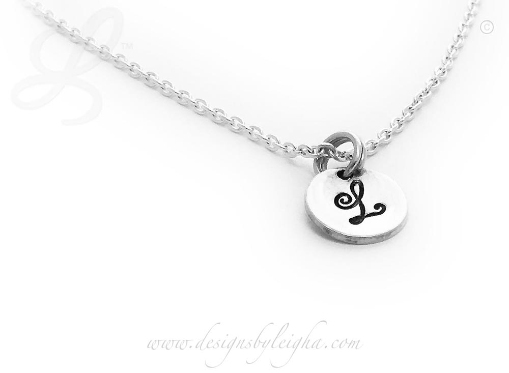 L Initial Charm Necklace with a sterling silver round initial charm (9mm) on a sterling silver necklace chain