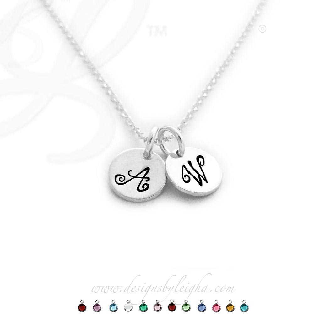 2 Round Initial Charm Necklaces on sterling silver chains - W and A