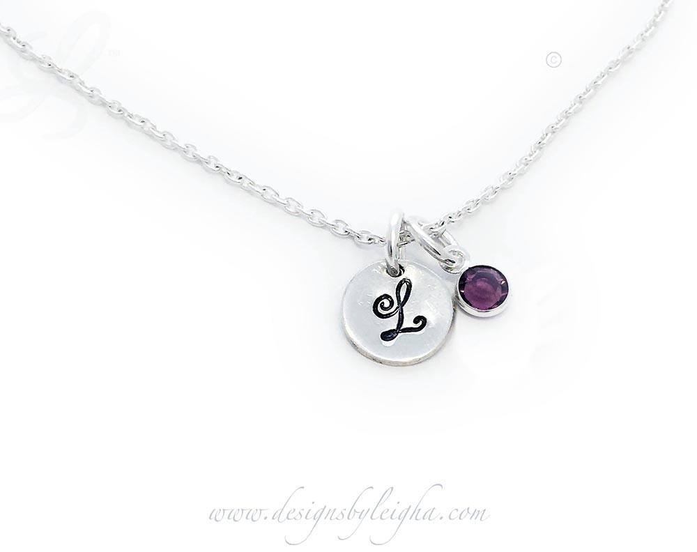 L Initial Birthstone Charm Necklace with a sterling silver round initial charm (9mm) on a sterling silver necklace chain