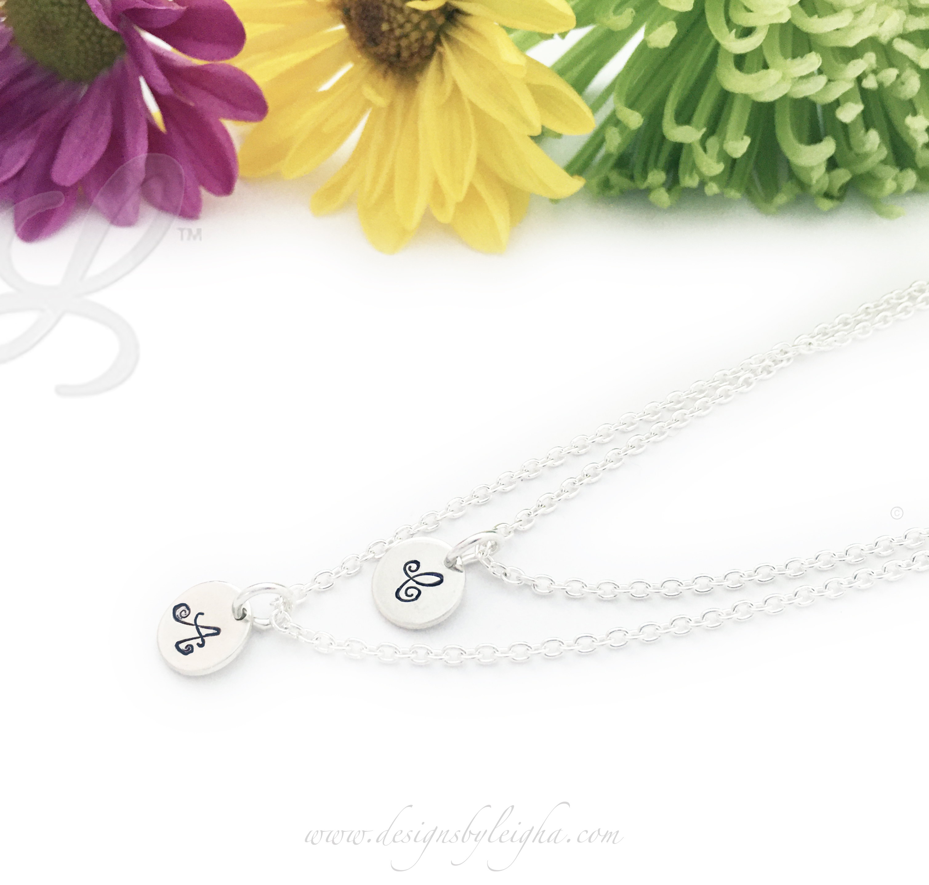 2 initial charm necklaces