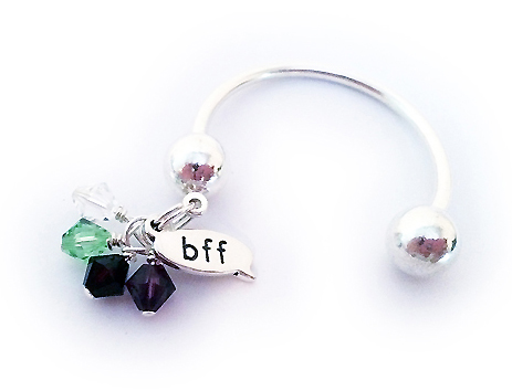 Best Friends Forever Keychain with BFF charm and friends birthstone crystals