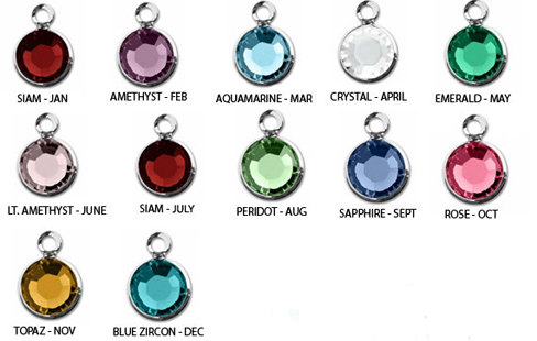Keychain with Birthstone Crystal Dangles