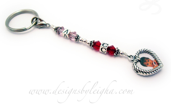 Initials Key chain with birthstone crystals and a Heart Picture Frame Charm