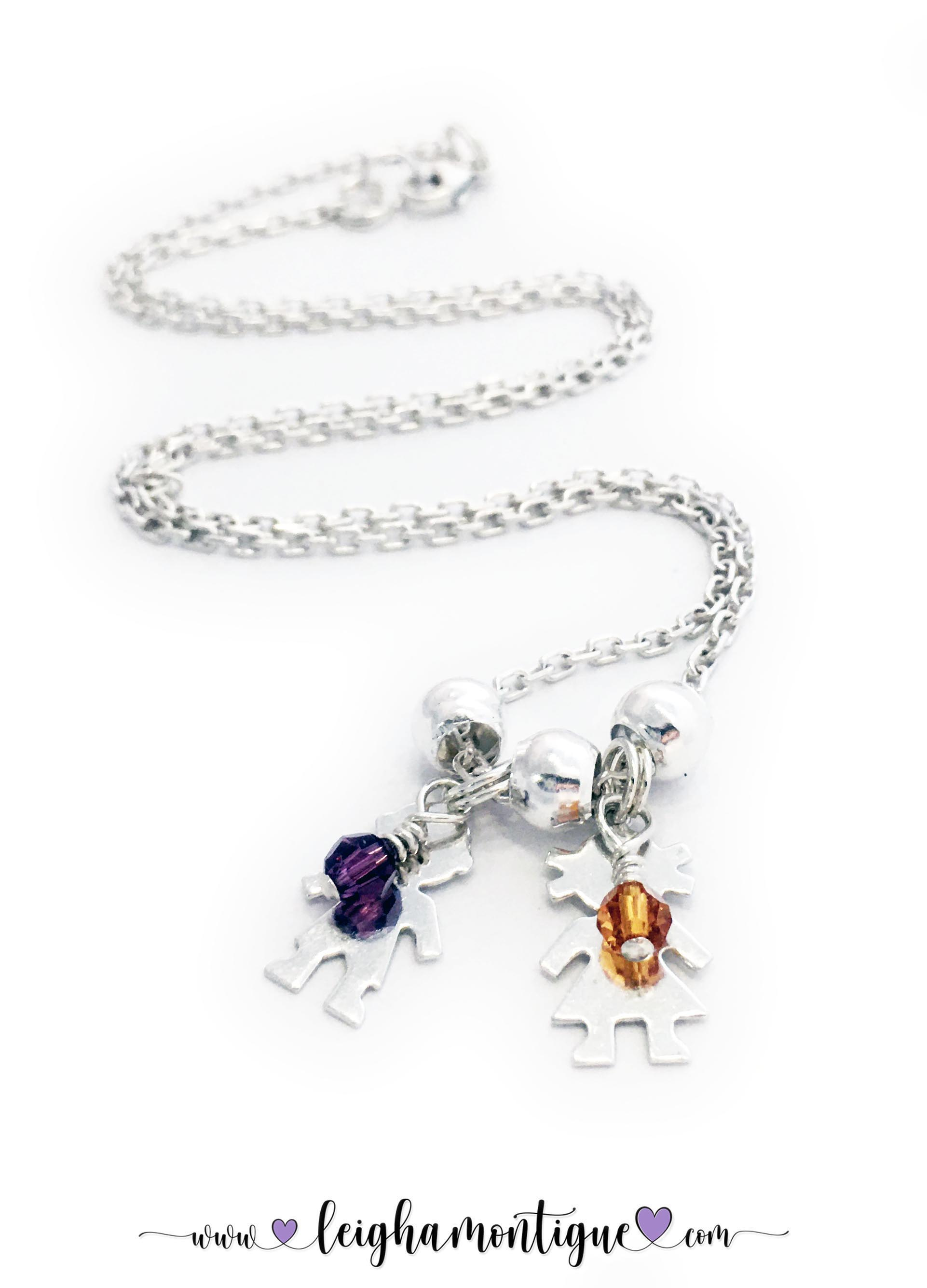 Mom with a Boy and Girl Charm Necklace with Birthstones - DBL-BN-N6  Two kid charms on a Rolo Chain necklace.