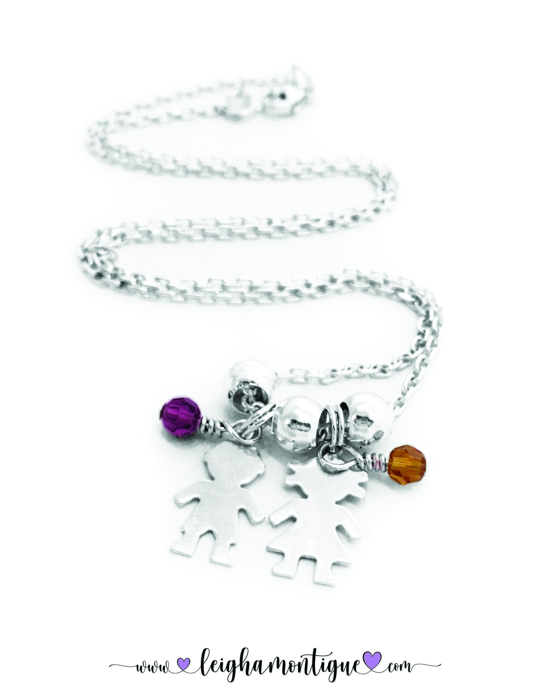 Girl Charm & Boy Charm with Birthstones DBL-BN-N6-2Ccharms  Little Boy Charm and Little Girl Charms with their birthstones (February or Amethyst and November or Golden Topaz)