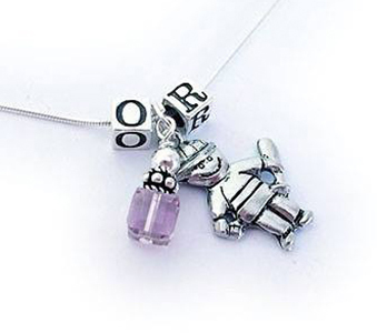 This Initial Charm Necklace is shown with 1 boy charm, 1 June Birthstone Crystal and the initials OR are shown above.