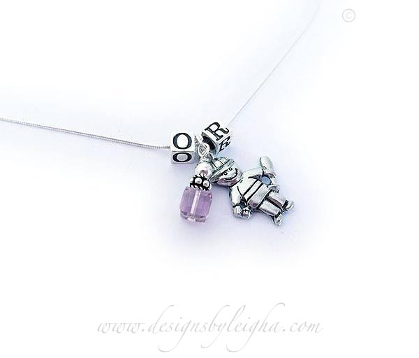 DBL-BN-N7 - 1 set 1 boy charm, 1 June Birthstone Crystal and the initials OR are shown above. Please abbreviate when ordering: e.g. OE/b/Jun