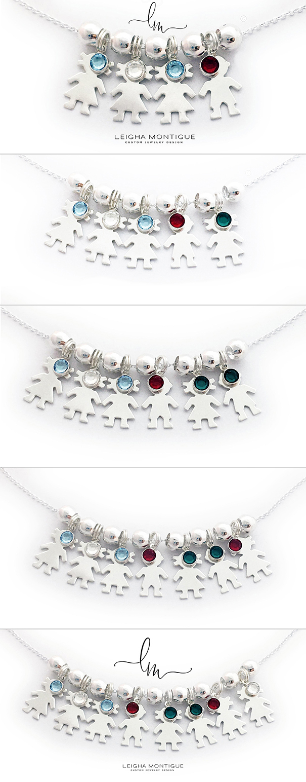 Kid Charm Necklaces with Birthstone - 4 kids, 5 kids, 6 kids, 7 kids, 8 kids and 9 kids