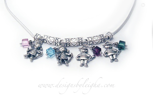 This Initial Necklace is shown with 4 sets of charms. Two girl charms, 2 boy charms, birthstone crystals (October/Opal, March/Aquamarine, February/Amethyst and May/ Emerald shown) with the kids' initials and Heart Blocks.
