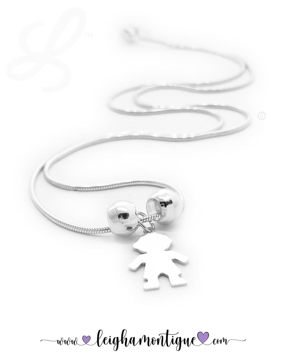 Mom of 1 Boy Charm Necklace DBL-N-N6-1Boys   1 Boy Charm Necklace shows 1 boy charm with spacer balls on a snake chain necklace. Everything is .925 sterling silver.