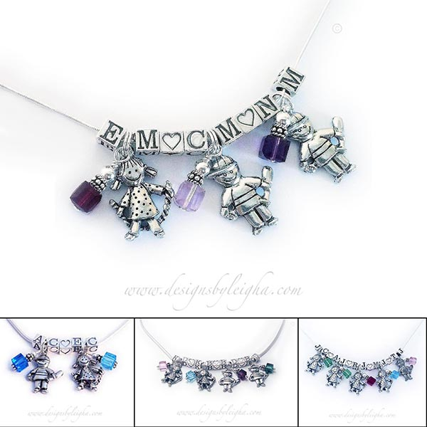 2 Boys and 1 girl charm necklace with birthstones