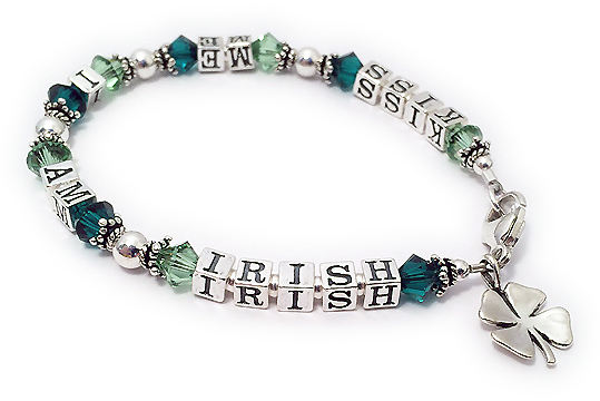 Kiss me I am Irish Bracelet with a Shamrock Charm