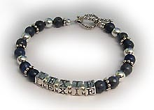 MOMMY!!! Lapis Lazuli and sterling silver Mothers Bracelet with sterling toggle clasp - 2 string bracelet