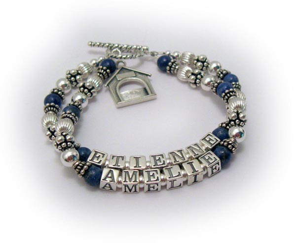 Lapis Lazuli Bracelet with Dog Picture Frame charm