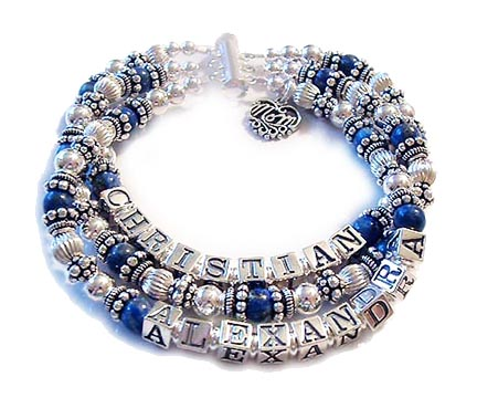This is a 3-string Lapis Lazuli Mothers Name Bracelet with 3 names: Christian, a blank string with pretty Lapis Lazuli and Sterling Silver beads and the 3rd string has Alexandra. They added a charm: Filigree Mom charm and picked a slide clasp. I recommend a slide clasp with 3 or more strings but you may choose any clasp option you prefer.