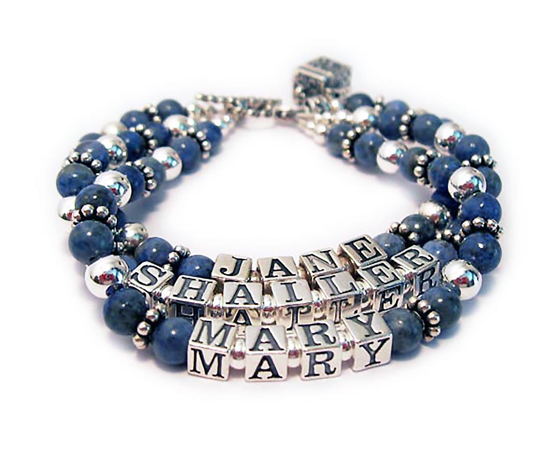 This is a 3-string Lapis Lazuli Mothers Name Bracelet with 3 names: Jane, Shailer and Mary. They added a charm: Prayer Box charm and picked one of my free toggle clasps: Twisted Toggle.