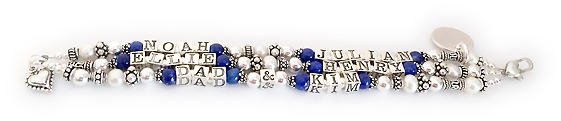 Can I add Lapis Lazuli beads to another design I like? YES YOU CAN!  You may add Lapis Lazuli Beads to ANY of my designs on this website - any of them! This bracelet is DBL-PS2 they added Lapis Lazuli beads before after each childs' name, instead of Swarovski Birthstone Crystals. They also added 2 charms and upgraded to the Heart Lobster clasp.