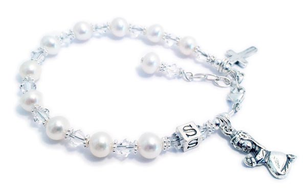 Confirmation Bracelet with a Praying Girl Charm and a Tiny Cross Charm