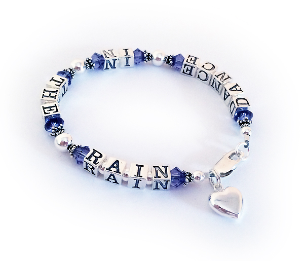 DANCE IN THE RAIN - Message Bracelet with a Puffed Heart Charm and purple crystals