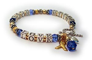 Gold Faith Hope Love Message Bracelet with BLue Swarovski Crystals