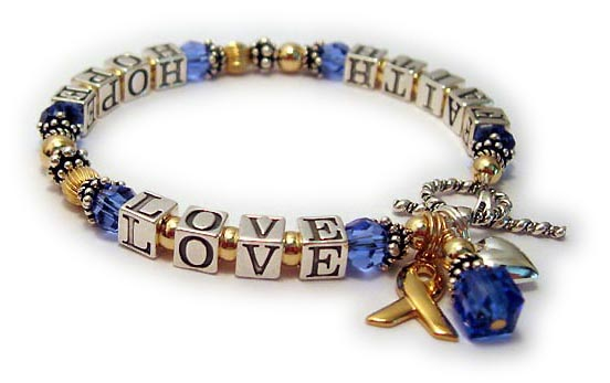 Message Bracelet: GOLD and Sapphire FAITH HOPE LOVE Bracelet
